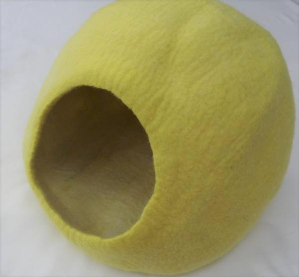 NEW COLOUR Felted wool cat cave cocoon Himalaya - Yellow - hand made in Nepal