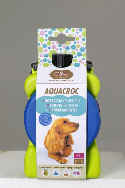 Dog water bottle (medium) with bowls and poop dispenser - ideal for travel and dog walks - Aquacroc